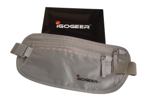 igogeer.com deluxe money belt with RFID blocking - khaki - with awesome gift box