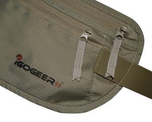 igogeer.com deluxe money belt with RFID blocking - khaki - zipper and logo detail