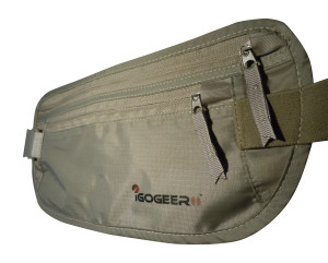 igogeer.com deluxe money belt with RFID blocking - khaki - front detail