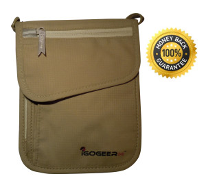 Igogeer.com - deluxe neck wallet with rfid blocking - front