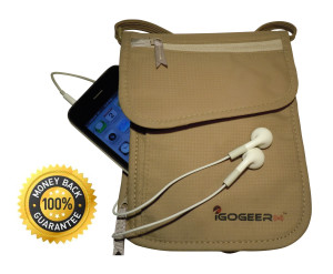 Igogeer.com - deluxe neck wallet with rfid blocking - front with iphone