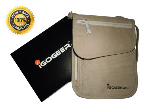 Igogeer.com - deluxe neck wallet with rfid blocking - front with gift box