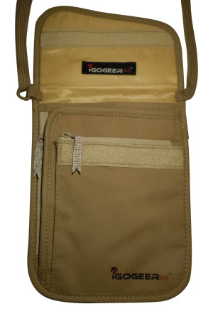 Igogeer.com - deluxe neck wallet with rfid blocking - front panel