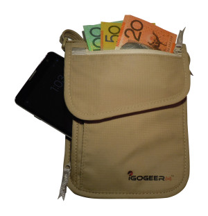 Igogeer.com - deluxe neck wallet with rfid blocking - front panel and cash