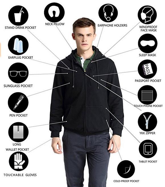 IGOGEER - XY#& Men Travel Jacket Hoodie
